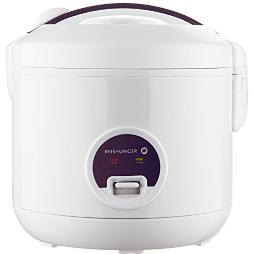 Reishunger Rice Cooker (1.2l/500W/220V) Keep-Warm Function, Premium-Quality Inner Pot, Spoon and Measuring Cup - Rice for up to six People