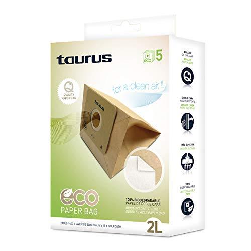 Taurus 999193000 Paquete de 5 bolsas de papel ECO para aspiradores trineo de 2 litros de capacidad...