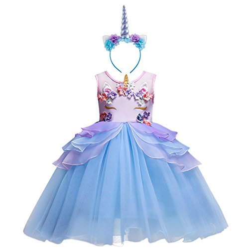 Mädchen Einhorn Cosplay Kleid Kleinkind ärmellose Tüll Tutu Prinzessin Kleid Kinder Hochzeit Geburtstag Festzug Halloween Weihnachten Karneval Party Kleid Kostüm Dress up mit Stirnband Blau 9-10