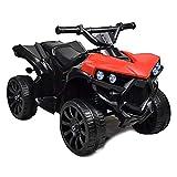 BAKAJI Quad Elettrico per Bambini Cavalcabile 6V Mini Moto Elettrica con 4 Ruote e Luci Fari Funzionanti Dimensioni 70 x 45 x 46 cm (Rosso)