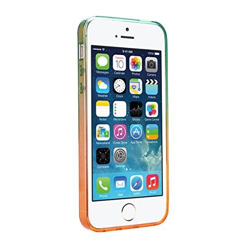 iPhone SE Hülle, 5S Hülle, GrandEver Durchsichtig Silikon Weich Schutzhülle Douce Mince TPU Case Soft Slim et Cystal Clear Transparent Backcover Gradient Tasche für iPhone 5 - Gelb et Blau Gelb et Grün