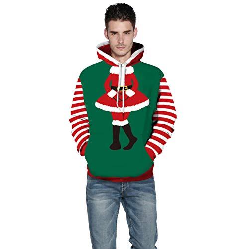 UJUNAOR Weihnachts Hoodie Herren Mantel Christmas 3D Gedruckt Pullover Top Bluse Santa(Grün,CN XL) (Santa Für Anzug Kleidersack)