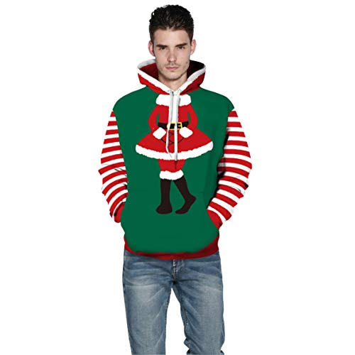 UJUNAOR Weihnachts Hoodie Herren Mantel Christmas 3D Gedruckt Pullover Top Bluse Santa(Grün,CN XL)