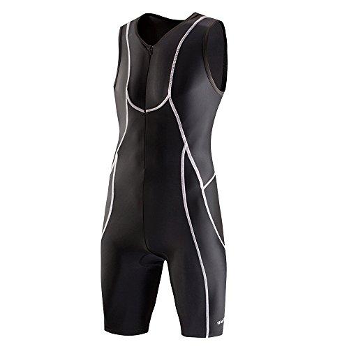 Lo. Gas Herren Triathlon-Anzug 2014Short Sleeve Race Anzug Vorne Reißverschluss Reflektierend für Radfahren Laufen Schwimmen Outdoor Sport, Black_Sleeveless, Medium (Race Anzug)