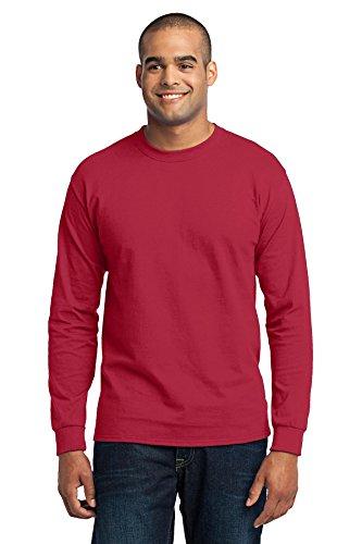 Port & Company Herren Asymmetrischer Langarmshirt Rot - Rot