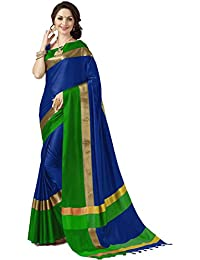 Indira Designer Women's Art Silk Cotton Blend Saree With Blouse
