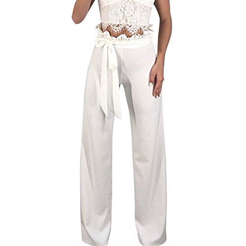 Mounter Frauen Damen Arbeit Büro lose Hose Hohe Taille Flare Wide-Leg Party Reißverschluss Rüschen Hose, Textil, weiß, XL=UK/L=Waist:28.5~31+Hip:38~41.5 - Flare Leg Hose