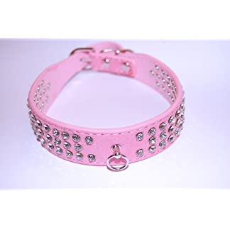 """Pet Palace® """"Debonair Doggy Suede Diamante Studded Luxury INK BLACK SMALL Collar for Dogs of Distinction with FREE CHARM ACCESSORY 17"""