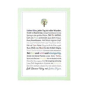 Taufgeschenk Junge personalisiert | Taufbild als Geschenk zur Taufe für Jungen, PDF oder Kunstdruck in DIN A4, optional mit Bilderrahmen - Gastgeschenk Pate für Baby, Geschenke Patenkind