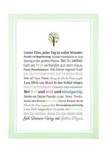 Taufgeschenk Junge personalisiert | Taufbild als Geschenk zur Taufe für Jungen, Kunstdruck in DIN A4, optional mit Bilderrahmen - Gastgeschenk Pate für Baby, Geschenke Patenkind