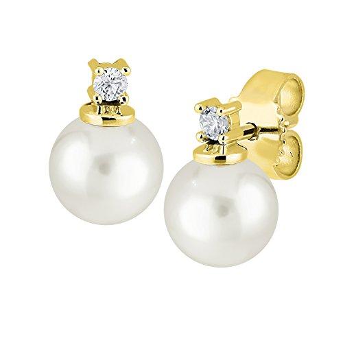 Diamond Line Damen - Gelbgold Ohrstecker 585 2 Brillianten 0.05 ct. 2 Akoya-Zuchtperlen Gelbgold Diamant Ohrringe/Perlenohrringe