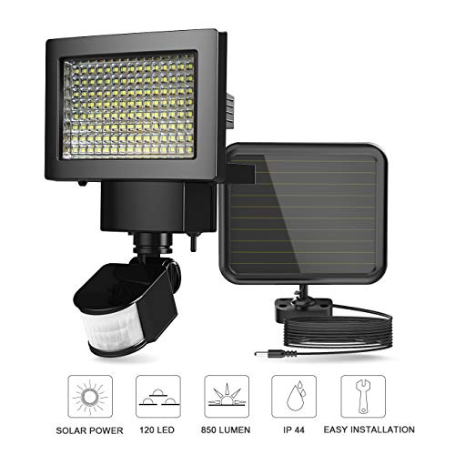 ERAY LED Solarlampen für Außen 2600mAh IP44 Wasserdicht, 120 LEDs 850 Lumen mit Bewegungssensor, 120 ° Weitwinkelbeleuchtung, Solarleuchte für Garten