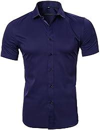 Harrms Mens No Iron Slim Fit Dress Shirts Bamboo Fiber Short Sleeves Elastic Button Down Dress Shirts, Stretchy Casual Shirts Men, 8 Colors