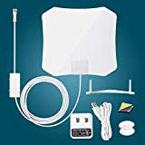 Antop AT-132B Indoor TV Antenna - With Inline Smart Pass Amplifier- 30 45 Mile Smart Range - Super Slim 0.02 - Piano White - Table Stand - 10ft Cable - 4K UHD Ready