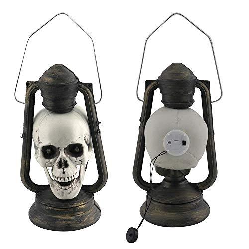 18 LED Schädel Laterne glühende Augen Gruselige hängende Lampe Halloween Dekor Requisiten (Schwarz) ()