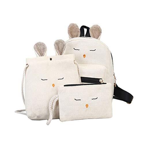 XZDCDJ 3PC Set Schulrucksack Mädchen Schultaschen Rucksack Cute Schultasche Daypacks für Damen Herren Farbabstimmung Wild Mode Leisure Reisetasche Student Bag Rucksack Weiß
