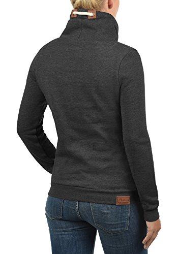 DESIRES Vicky Tube Damen Sweatshirt Pullover Sweater mit Stehkragen aus hochwertiger Baumwollmischung Dark Grey Melange (8288)