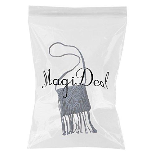 MagiDeal Donne Borse a Spalla Scava Fuori Crochet Nappe Cross-corpo Sacchetto della Spiaggia - Bianco Blu marino