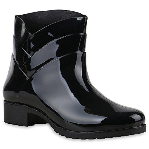 Damen Gummistiefel Profil Sohle Stiefel Regen Schuhe Wasserdicht Schwarz