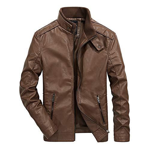Geili Herren Jacke Lederjacke Übergangsjacke mit Stehkragen Modern Männer Coole Reißverschluss Bikerjacke Große Größen Warm Gefüttert...