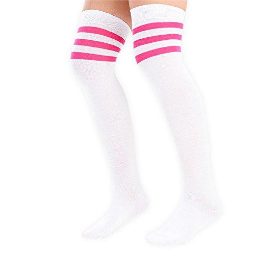 Damen 3Streifen Trainer Socken Weiß mit bunten Streifen 4Farben erhältlich 1Paar UK Größe 4–6 White with pink stripes
