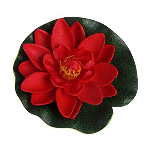 Lamdoo Künstliche gefälschte schwimmende Blumen Lotus Seerose Pflanzen Gartentank Teich Dekor