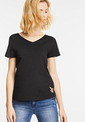 Street One Damen Shirt mit Bändchen im Nacken Black (Schwarz)