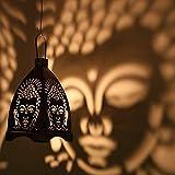 eCraftIndia Iron Buddha Hanging Light Holder (10 cm x 10 cm x 13.99 cm, Black and Silver)