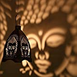 #5: eCraftIndia Iron Buddha Hanging Light Holder (Black and Silver, 10x10x13. 98cm)