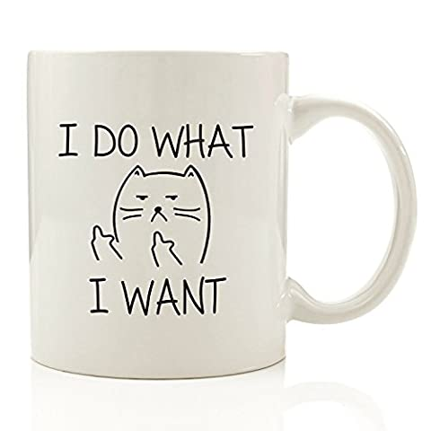 I Do What I Want Cat Funny Coffee Mug - Unique Christmas Present Idea for Men & Women, Him or Her - Best Office Cup & Birthday Gag Gift for Coworkers, Mom, Dad, Kids, Son, Daughter, Husband or Wife by Got Me Tipsy