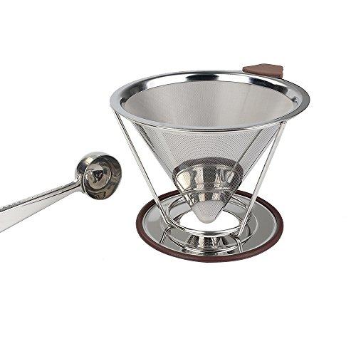 Kaffeefilter Edelstahl Permanentkaffeefilter mit Kaffeedosierlöffel Deallink Papierloser Wiederverwendbare Permanent Kaffee Filter mit abnehmbarem Stander für 1 bis zu 6 Tassen Kaffee