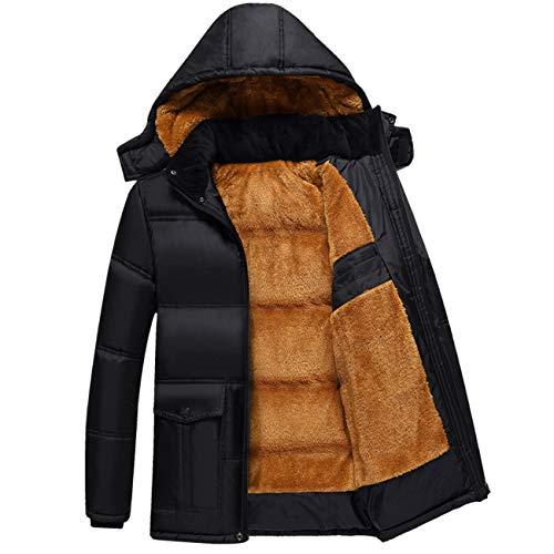 Legogo Herren Parka Zipeer Warm Verdicken Winter Baumwolle Jacke Mantel(2XL,schwarz)