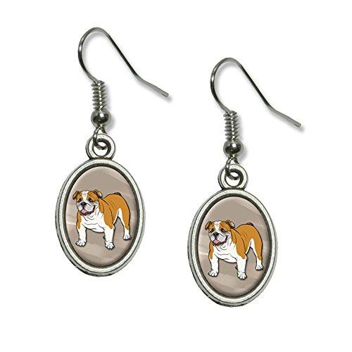 (English Bulldog–Hunde Neuheit Dangling Drop oval Charm-Ohrringe)