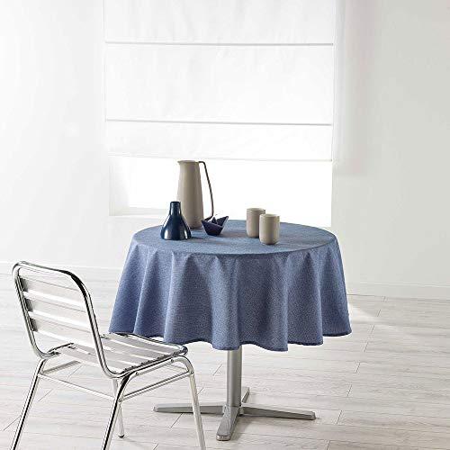 dkdo Nappe Ronde - Diamètre 180 cm - Coton Enduit - Newton - Bleu