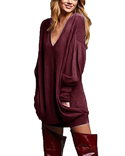 ZANZEA Damen V-Ausschnitt Lose Langarm Oberteile Oversize Lang Sweatshirt Tops Pullover Wein Rot EU 52/Asien 3XL - Pullover Mit V-ausschnitt T-shirt Top