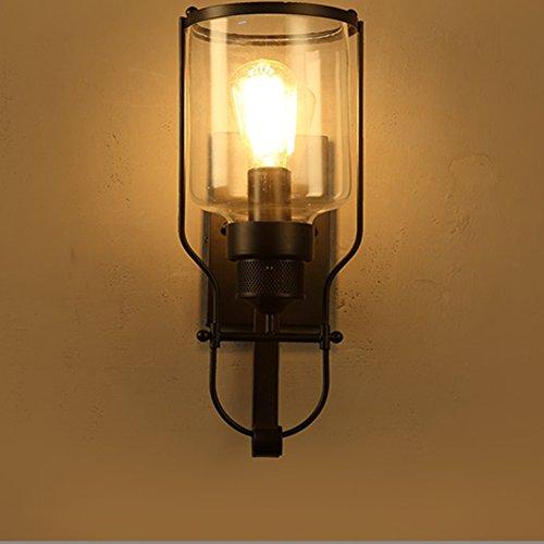 ZQ@QX Traditionelle dekorative Wand Lampe einfache Hotel-Café Restaurant Wand Lampe Eisen Kunst Glas Wandleuchte (17 * 43cm)