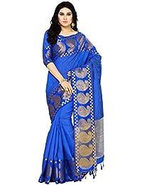 MIMOSA Women's Banarasi Tussar Silk Saree With Un-Stiched Blouse (4074-271-RBLU_Blue)