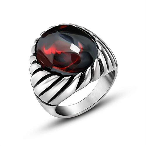 für Männer Titan Rot/Schwarz Rund Zirkonia Ring für Männer Silber ()