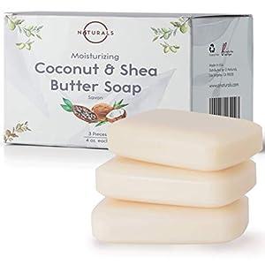 O Naturals Jabón Natural al Aceite de Coco con Manteca de Karite. Hidrata y Nutre la Piel Seca y Escamosa, Psoriasis…
