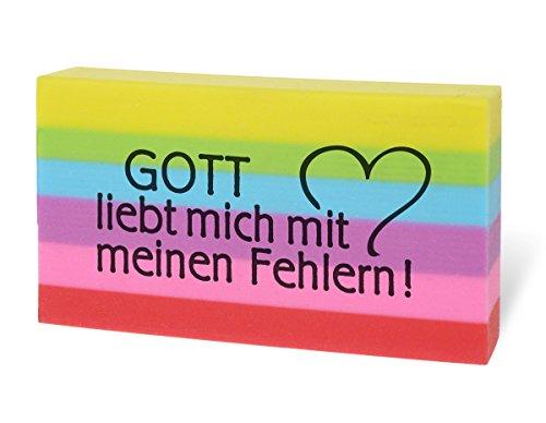 °° Radiergummi in Regenbogenfarben 'Gott liebt mich...'