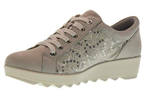 Enval soft 12668 Perla Scarpa Donna Sneaker Pelle e Pizzo Made In Italy
