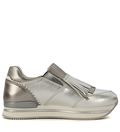 Mocassino Hogan H222 in pelle laminata argento con frange Argento