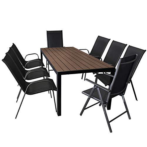 9tlg Sitzgarnitur Alu Gartentisch mit Polywood-Tischplatte in Braun 205x90cm + 2x Aluminium Hochlehner mit verstellbarer Rückenlehne und 2x2 Textilenbespannung + 6x Stapelstuhl mit Textilenbespannung - Gartenmöbel Set Sitzgruppe