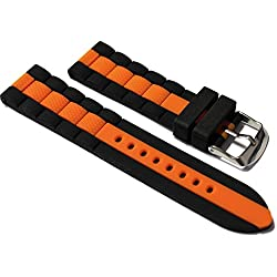 22mm Watch Strap. Black with Orange Strip in Silicone Rubber.