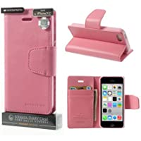 CUSTODIA FLIP ORIZZONTALE PELLE per APPLE IPHONE 5c CON INTERNO IN TPU SILICONE E STAND COLORE ROSA ALTA QUALITA' SONATA BLISTER