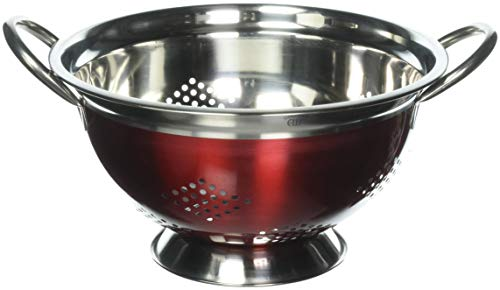 5 Quart Colander Made of Powder Coated Steel Red ,Wide Base for Stability Chrome Plated Handles and Stainless Steel Rims by DINY Home & Style by Eurohome -