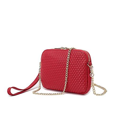 Sacchetto di spalla di cuoio della borsa di cuoio della donna sacchetto di spalla della catena di stile di amore Wine Red