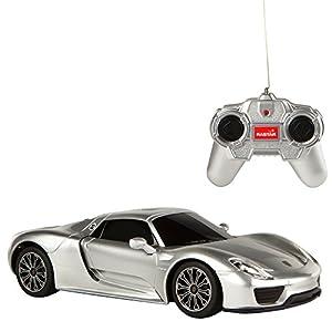 Rastar - Porsche 918 Spyder, coche teledirigido, escala 1:24, color gris (ColorBaby 85053)