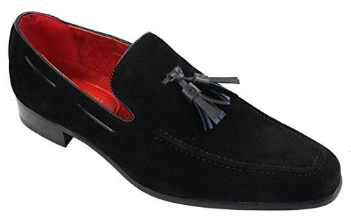 Rossellini scarpe eleganti da uomo in pelle pu scamosciata senza lacci con nappine nero 11uk, 45eu