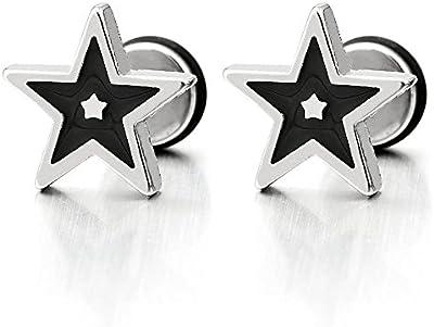 Negro y Plata Estrella Pendientes de Hombres Mujer, Acero Inoxidable, Cierre Tornillo, 2 Piezas